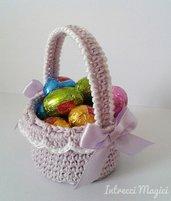 Cestino portaovetti all'uncinetto, cestino Pasqua