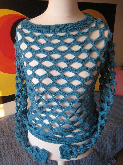 Maglia rete turchese cotone e seta