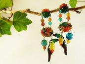 Orecchini tucani agata tessuto - orecchini uccelli tropicali - orecchini pietre naturali - gioielli uccellini - gioielli boho - jungla