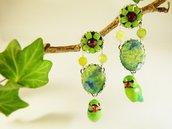 Orecchini parrocchetti agata tessuto - orecchini uccelli tropicali - orecchini pietre naturali - gioielli uccellini - gioielli boho - jungla