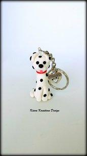 Portachiavi in fimo cane dalmata, miniatura dalmata, idee regalo compleanno, regalo amanti cani, regalo cane, gioielli cani, regali per lui