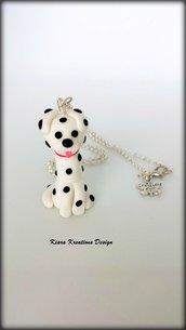 Collana in fimo cane dalmata, miniatura dalmata, idee regalo compleanno, regalo amanti cani, regalo cane, gioielli cani, regali per lei