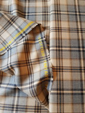 Tartan originale in pura lana,taglio di tessuto 1 metro alto 150 cm, beige e blue scottish tartan taylor and