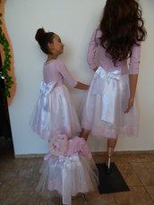 Madre, sorella e bambino, set di abiti per una vacanza indimenticabile, abito elegante in bianco e rosa con sette otto maniche, bel vestito, vestito rosa per bambini,