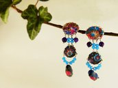 Orecchini uccellini agata viola tessuto floreale- orecchini uccelli - orecchini naturali - gioielli boho - arte uccelli - orecchini blu
