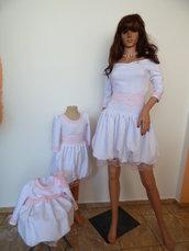 Madre, ragazza e bambino, set di abiti per una vacanza indimenticabile, abito elegante in pizzo bianco e rosa, bel vestito, vestito rosa baby,