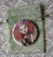 SPECCHIETTO-Red Hair Black Cat-pocket mirror 2.25 inch (5.6cm)