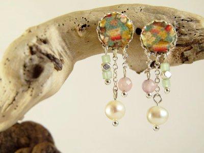 Orecchini perle acqua dolce tessuto - orecchini perle - orecchini pendenti - gioielli agata - gioielli boho - orecchini boho - freshwater