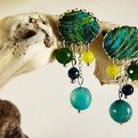 Orecchini pendenti agata verde tessuto - orecchini tessuto - orecchini pietre naturali - gioielli agata - gioielli boho - orecchini boho