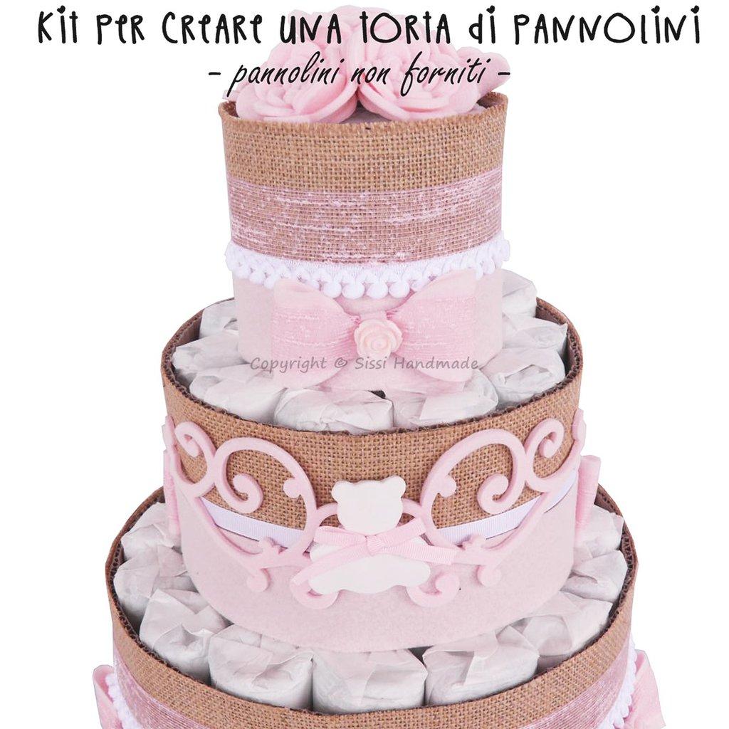 Kit per creare una torta di pannolini per bambina