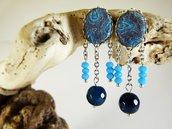 Orecchini agata blu azzurro cotone - orecchini boho chic - orecchini pietre naturali - gioielli agata - gioielli etnici - orecchini cabochon