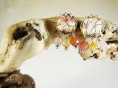 Orecchini agata rosa beige stoffa - orecchini boho - orecchini pietre naturali - gioielli originali - gioielli etnici - orecchini ottone