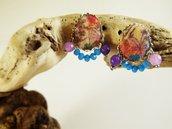 Orecchini agata viola rosa stoffa - orecchini originali - orecchini pietre naturali - gioielli agata - gioielli boho - orecchini cabochon