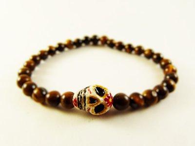 Braccialetto teschio colorato e occhio di tigre - braccialetto perline - braccialetto perle naturali - bracciale messicano - frida kahlo