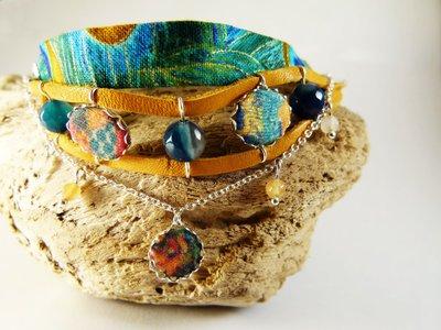 Braccialetto multi-strato cuoio agata tessuto Pavone - braccialetto cuoio - braccialetto perle naturali - bracciale pavone - gioielli boho