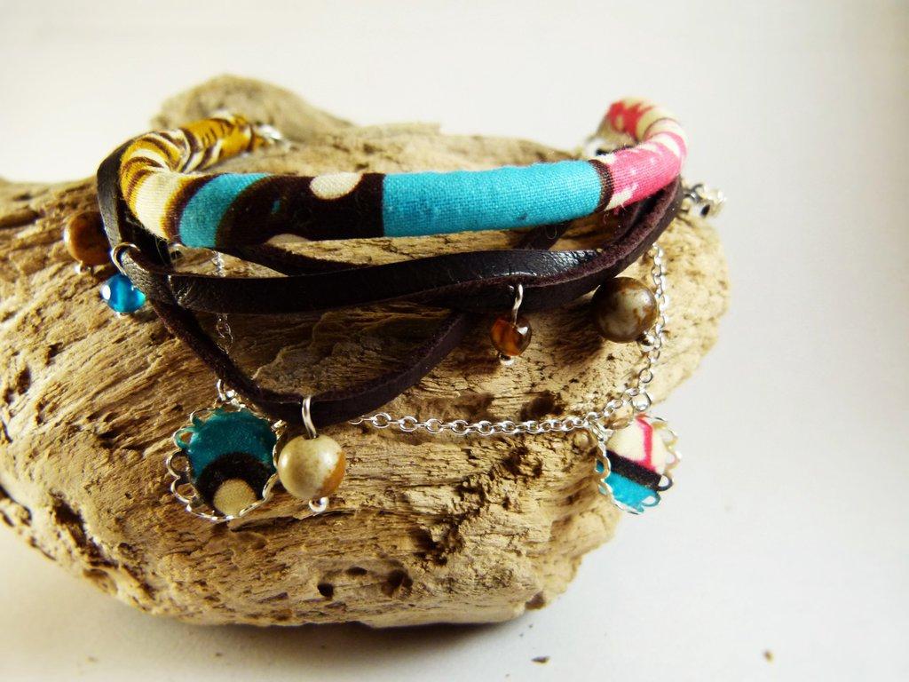 Braccialetto multi-strato cuoio diaspro tessuto Wax - braccialetto cuoio - braccialetto perle naturali - bracciale wax - gioielli etnici
