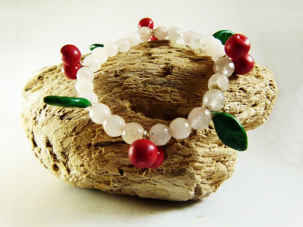 Braccialetto ciliegie e foglie quarzo rosa - braccialetto perline - braccialetto perle naturali - bracciale boho - gioielli frida kahlo