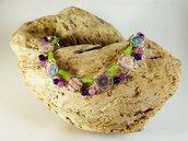 Braccialetto cabochon viola e verde agata tessuto vetro - braccialetto perline - braccialetto cabochon - bracciale doppio - gioielli boho