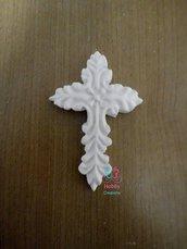 Gessetti colore bianco profumati a forma di CROCE DECORATA (MODELLO1 ) per bomboniera Cresima, Battesimo, Comunione, Matrimonio, Sacramento, Natale - Idea Regalo