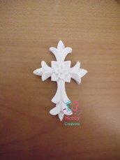 Gessetti colore bianco profumati a forma di CROCE DECORATA ( MODELLO 2 ) per bomboniera Cresima, Battesimo, Comunione, Matrimonio, Sacramento,Natale - Idea Regalo