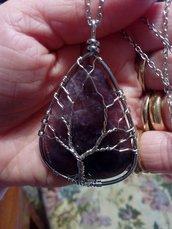Collana con grandissimo ciondolo di vera ametista pietra dura naturale in albero della vita chakra cristalloterpia