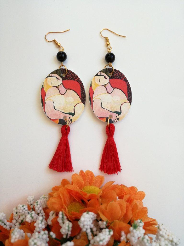 Picasso orecchini di carta pendenti con perla nera