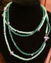 Collana lunga cristalli verdi