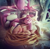 Bomboniera battesimo bimba in rosa