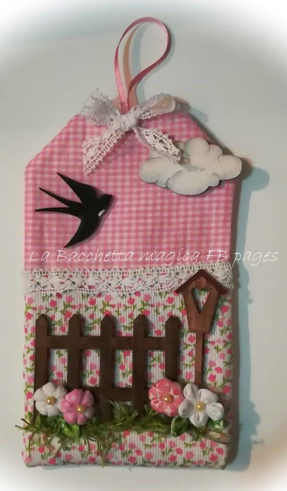 Kit sagome grezze per tag primaverile (una staccionata, una rondine, una nuvola, una casetta nido)
