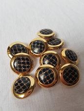 Bottoni vintage nero e oro di plastica con gambo 9 pezzi 2,4 cm materiali