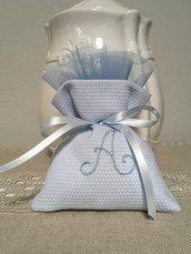 Bomboniera per battesimo, sacchetto di piaquet azzurro, bomboniere nascita