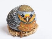 SASSO DIPINTO PETTIROSSO - passeraceo - sasso decorato - collezionismo - soprammobile