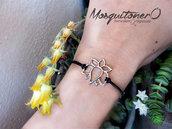 Bracciale fiore di Loto stile minimal color argento e cordino nero,braccialetto Mala da yoga
