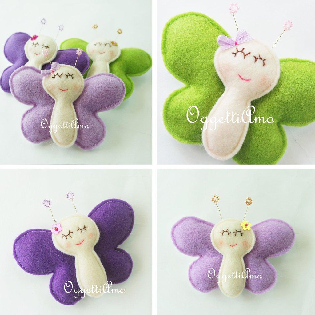 30 farfalle in feltro fatte a mano per le bomboniere della tua bambina: un set di originali calamite come ricordo del vostro evento (battesimo, comunione, cresima, compleanno)