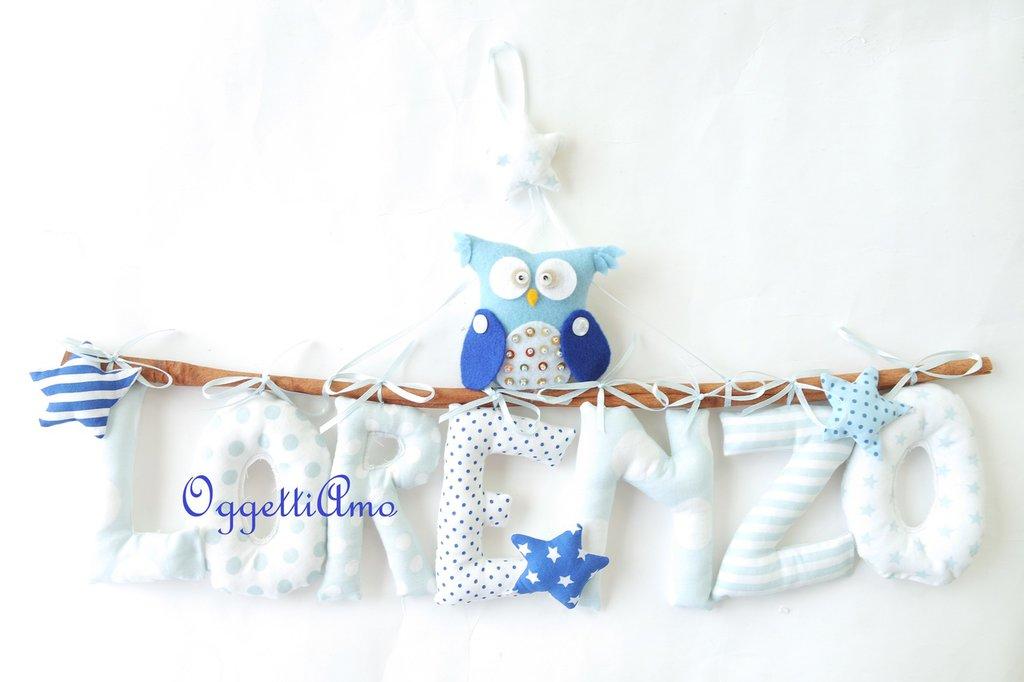 Un fiocco nascita con gufi/civette e stelle per decorare il nome Lorenzo: una targa per annunciare l'arrivo del tuo bambino
