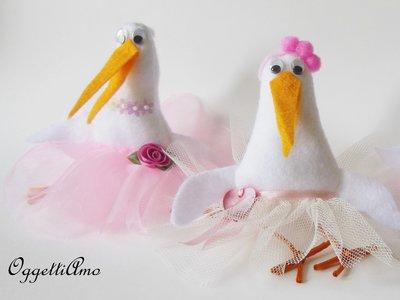 20 cicogne come bomboniera per la piccola Amelie: una cicogna come bomboniera ricordo per il battesimo della tua bambina