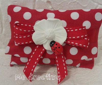 Portaconfetti mini pochette pois rossa