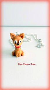 Collana in fimo cane chihuahua, kawaii, miniatura, idee regalo compleanno, regalo natale, regalo appassionati di cani, gioielli chihuahua