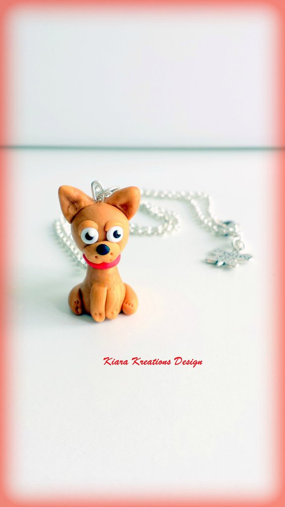 Collana In Fimo Cane Chihuahua Kawaii Miniatura Idee Regalo Comp