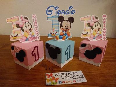 Scatolina segnaposto primo compleanno Topolino / Minnie