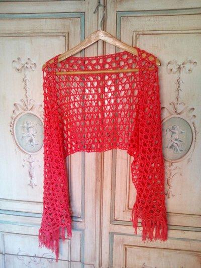 scialle stola a uncinetto in cotone con frange color rosso corallo - scialle estate - stola elegante per cerimonia