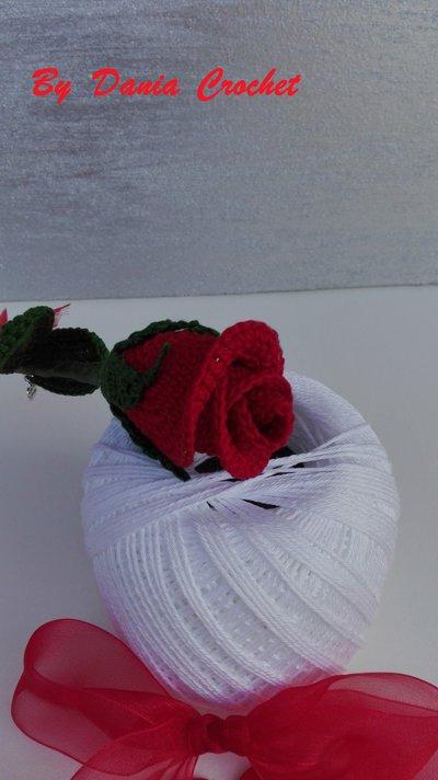 Bocciolo Di Rosa Ad Uncinetto In Cotone Confezionata Feste Ide