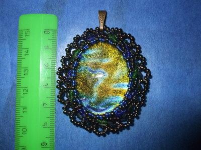 Ciondolo vetro oro-verde-blu