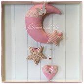 Fiocco nascita luna in cotone rosa con stelle, cuore,farfalla e pizzo