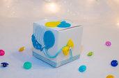 Scatolina con palloncini per Nascita/Battesimo per lui, 7 cm x 7 cm