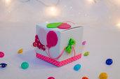 Scatolina con palloncini per Nascita/Battesimo per lei, 7 cm x 7 cm