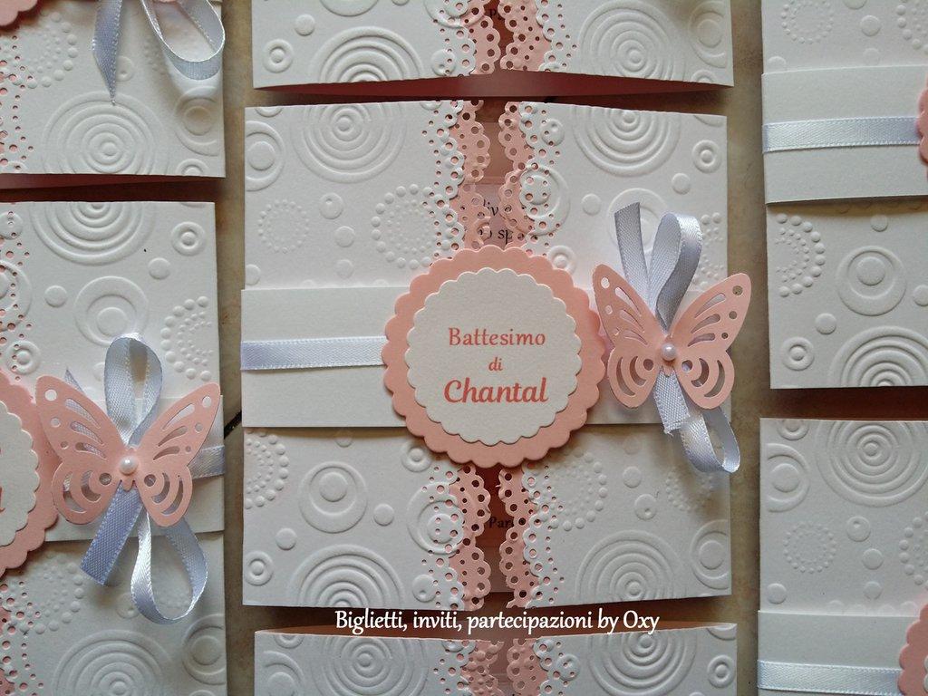 """Inviti per Battesimo """"Farfalle rosa - verde acqua - lilla"""""""