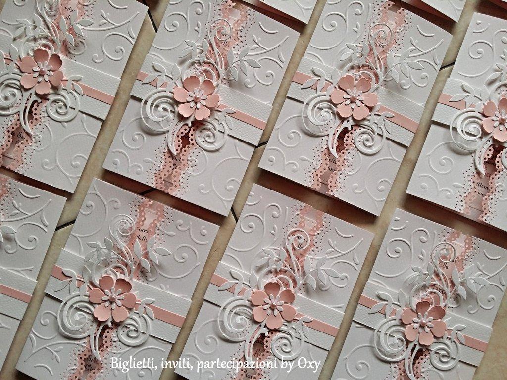 Partecipazione per Matrimonio rettangolare in bianco e rosa.