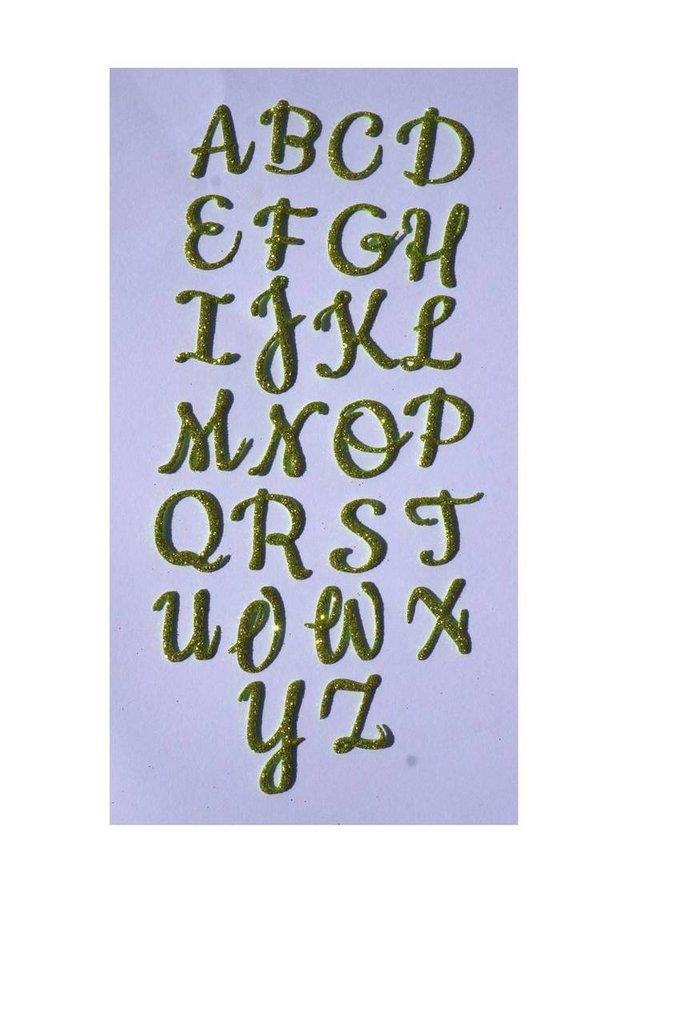 Fustellato alfabeto gomma crepla glitter