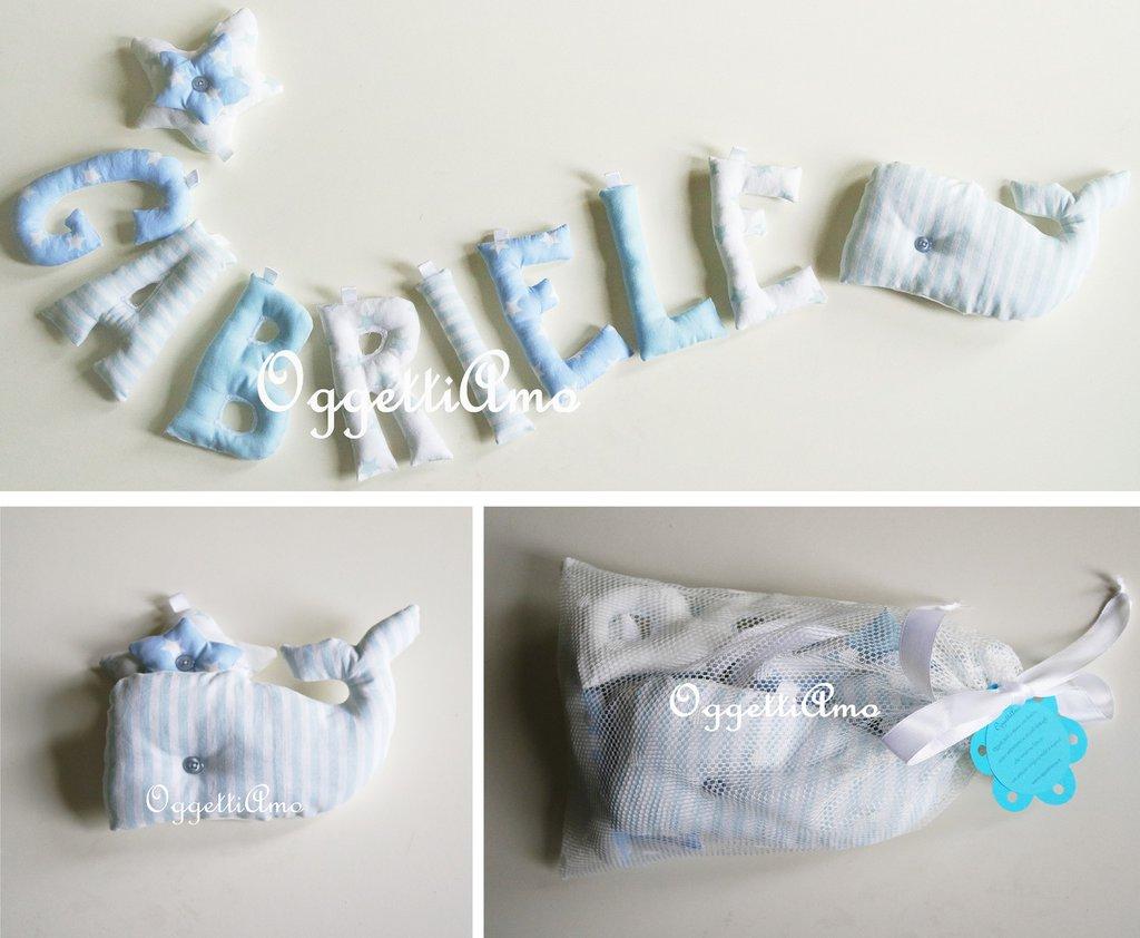 Gabriele: una ghirlanda di lettere di stoffa imbottite per decorare la sua cameretta
